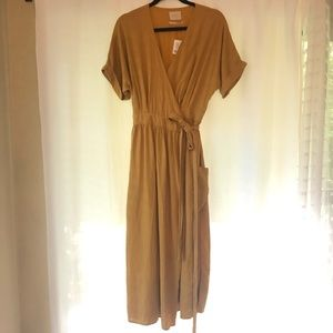 Urban Outfitters Gabrielle Linen Wrap Midi Dress